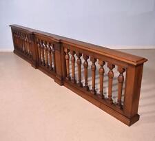 *11' Vintage French Oak Wood Church Altar Railing w/Corinthian Pillars