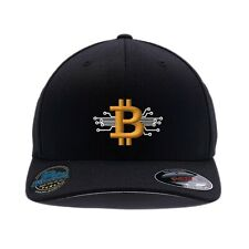 Digital Bitcoin Cap. Custom Embroidered. 6277 Wooly Combed Flexfit Cap.