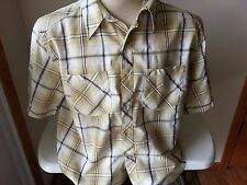 Horny toad yellow, tan, white, black plaid short sleeve button down - mens Med
