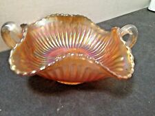 Vintage Carnival Glass Bowl Iridescence Butterfly Design with Handles