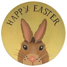 """Country Happy Easter Wooden Plate 8"""" Yellow w/Bunny Rabbit Tabletop Decor"""
