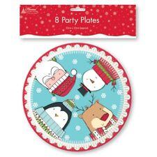 Paquete 8 NAVIDAD platos de papel, Redondos Santa Muñeco De Nieve 23cm