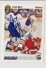 91/92 Upper Deck Craig Muni Edmonton Oilers Autographed Hockey Card