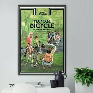 """Vintage """"Fix Your Bicycle"""" Clymer Handbook POSTER! (up to full-size 24"""" x 36"""")"""