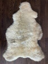 GENUINE SHEEPSKIN RUG NATURAL LIGHT BROWN FUR THROW COVER SOFT WOOL