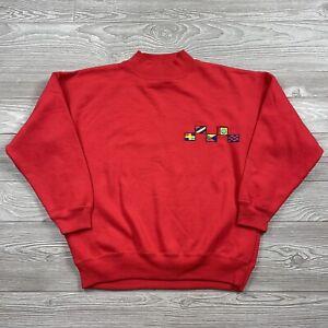 Vintage 80s Magnet Mockneck Sweatshirt Medium Fits Small Flags B1