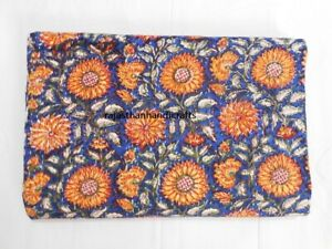 Twin Size Kantha Quilt Hand Block Print Floral Bedding Blanket Indian Throw