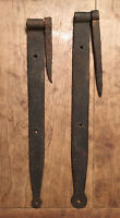 A PAIR of ANTIQUE PRIMITIVE HAND FORGED IRON BARN DOOR STRAP HINGE WITH PINTLE