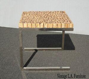 Vintage Contemporary Modern Wood Slice Side End Table w Chrome Base