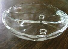 """Crystal, candy or fruit dish, clear 7 1/4"""" diameter. Round, divided into 2 parts"""