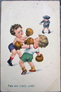 Boxing Young Children & Police Officer 1924 Postcard- 'Fais une Risette, Petit!'
