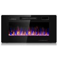 "36"" Electric Fireplace Recessed Ultra Thin Wall Mounted Heater Multicolor Flame"