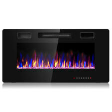 """36"""" Electric Fireplace Recessed Ultra Thin Wall Mounted Heater Multicolor Flame"""