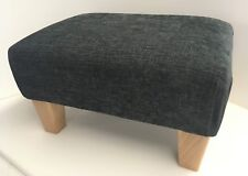 Footstool In A Charcoal Grey Chenille Fabric With Solid Wood Legs British Made
