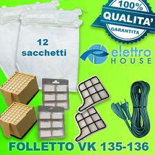 FOLLETTO VORWERK VK135-136 12 SACCHETTI+ 12 PROFUMI + 4 FILTRI + CAVO 7 METRI