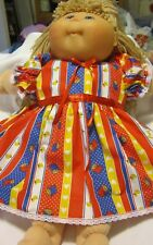 """Red Multi Stripe Print Dress/Bloomers fits Large 20"""" Cabbage Patch Doll"""