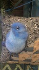 New ListingMountain Bluebird On Antique Quilt Cupboard Pillow~Ooak Fabric Art by Renate'