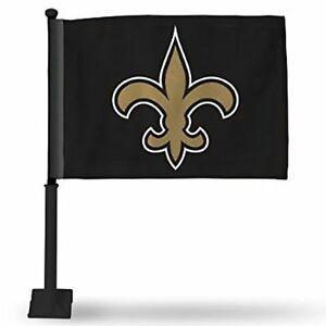 NEW ORLEANS SAINTS CAR FLAG BLACK POLE DOUBLE SIDED