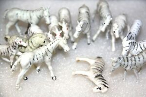 Zebra x 14  small toys  small collectible toy vintage plastic toys x 14 small