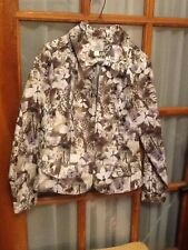 NWOT Christopher & Banks FLORAL ZIP FRONT DENIM style JACKET Size S Small