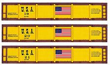 Three Civil War era Z scale printed gondola sides with the Usa flag