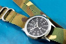 VINTAGE TIMEX MILITARY STYLE BLACK FACED 24 HOUR 40mm WATCH W/ ZULU STRAP