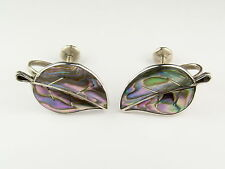 Vintage Sterling Silver 925 Abalone Earrings Mexico City Eagle 1 Ca. 1948-1955