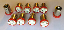 10 Cadillac BRIGHT Red 12V LED Instrument Panel BA9S 1815 Light Bulbs 1895 NOS