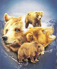 "Original Polar Bears montage Fleece throw Blanket 50"" x 60"" Licensed new"