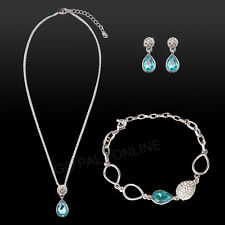 White Gold Plated Necklace/Earrings/Bracelet Crystal Wedding Bridal Party Set AU