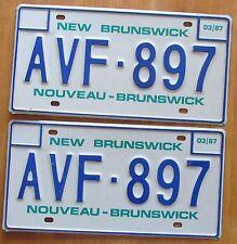 New Brunswick 1987 License Plate PAIR # AVF-897