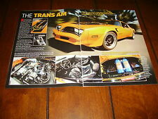 1978 PONTIAC TRANS AM SUPERCHARGED NOS PRO TOURING ***ORIGINAL 2009 ARTICLE***