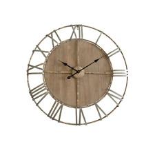 Mobili Rebecca Orologio da Sala Marrone legno ferro Rotondo Design (p9s)