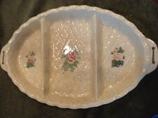 Japan Pottery 3 part Rose Quilted Pattern Relish Dish Oval 2 handle Vintage