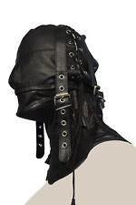 Genuine leather suffocating mask air tight gimp hood  steel bonned neck corset