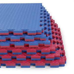 "Clevr 1"" Extra Thick EVA Foam Mat Interlocking Gym 12pcs 48 SqFt Blue/Red MMA"