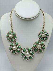 """Kate Spade Round Mint Green Flower Rhinestone Statement Necklace 21"""""""