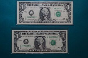 ERROR PAPER BILLS> 1988  FEDERAL RESERVE NOTES, ONE DOLLAR (x2) #s 68025383 & 84