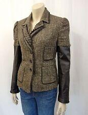 398€ AMBIENTE Designer Blazer Jacke Gr.38 Jacket Lederärmel Brauntöne 634