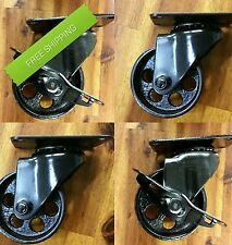 "STEEL 3"" INDUSTRIAL styled CASTERS, Factory Metal Coffee Table Furniture Wheels"