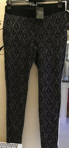 Next Black/white Lace Patterned Stretch Leggings UK 12 NEW