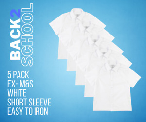 5 PACK ex M&S Boys School Short Sleeve Shirt White Uniform Shirts 11-12 Year