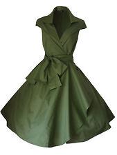 VINTAGE 1950'S 1940's ROCKABILLY STYLE SWING WRAP EVENING PARTY TEA DRESS  6 -26