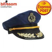 AC831 Navy Sailor Captain Adult Costume Cap Hat Skipper Marine Yacht Boat Ship