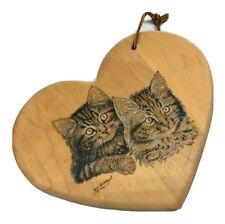 """Jim Kowalczak Wood Heart Wall Hanger Kitty Cats Kittens Striped 9"""" Furry Ears"""