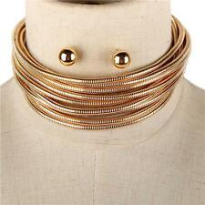 """11.50"""" gold cocoon multi tiered 9 layer coil collar choker necklace earrings"""