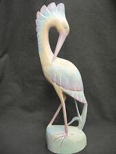 "Carved Wood Heron Crane Shore Bird Figure Long Legs Green Blue Pastel 17"""