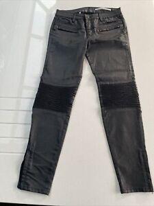 Zara Black Coated Biker Trousers Medium Rise Slim Fit UK 10 EUR 38 US 06