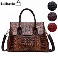 Women's Crocodile Leather Handbag Sling Satchel CrossBody Tote Bag Shoulder Bags