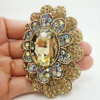 Vintage Style Flower Art Nouveau Brooch Pin Topaz Crystal Rhinestone